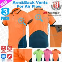 3x Hi Vis Polo Shirts Back and Arm Vents Cool dry with 3m Reflective AS/NZS 4602