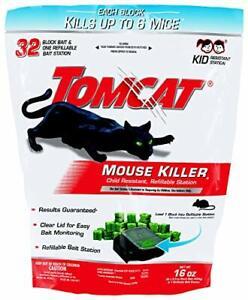 Tomcat Mouse Mice Killer 32 Blocks Bait Poison Rodent Station Trap Control