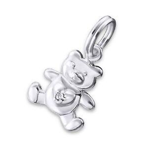 Silvadore TEDDY BEAR Heart CZ 925 Sterling Silver Split Ring Charm Bracelet 074