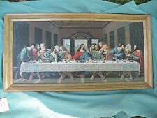 Vtg LAST SUPPER Finished PBN Paint by Number Wood Frame 33 x 16