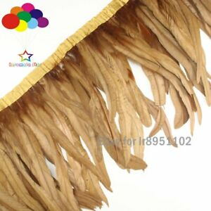 2 meters Coffee rooster tail Feathers fringes 10-14inch 25-35cm cock coque trims