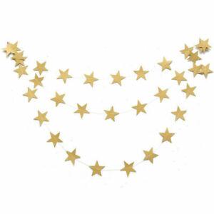 Gold Glitter Star Garland Sparkling Banner Bunting 4M Paper Star Banner