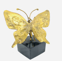 Small Vintage Mid Century Copper Butterfly  Decor On Black Base