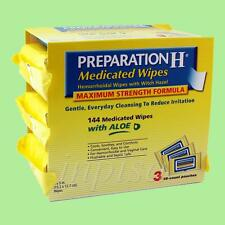 PREPARATION H 4 PACKS x 144 MEDICATED WIPES with ALOE HEMORRHIODAL CARE