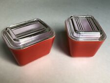 2 Vintage Small Red Pyrex Refrigerator Dishes with Transparent Lids No. 501-B