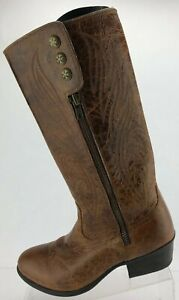 Ariat Uproar Riding Boots Zip Brown Western Traditional Knee High Womens US 8 B