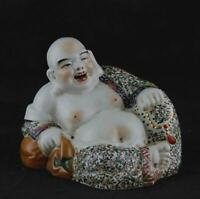 "7.3"" Collect Chinese Jingdezhen Colour Porcelain Moneybag Maitreya Buddha Statue"