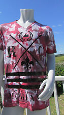 NEW M RAWYALTY t-shirt red white black tie dyed couture bling $149 v-neck RC