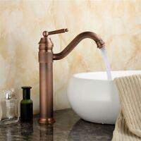 Antique Copper Vessel Sink Tap Kitchen Bathroom Basin Single Handle Mixer Faucet