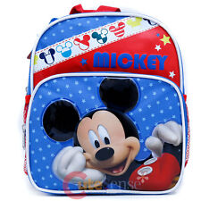 """Disney Mickey Mouse Backpack 10"""" Small Toddler School Bag - Mickey Stars"""