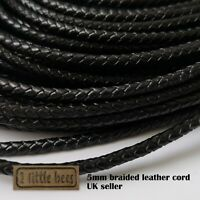Braided Leather Cord Black Real Round 3 4 5mm Jewellery Bracelet Thong