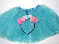 New Halloween tutu unicorn skirt  and headband turqu sequins costume 3 - 7 years
