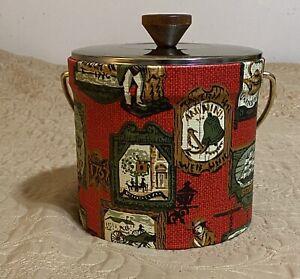 Vintage Georges Briard 1970 Tavern Decor Ice Bucket Gold Tone Lid Red Cloth