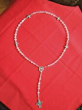 First Holy. C. ROSARY for LEFTIES Crystal AB beads-Chalice cntr   NEW #cyl