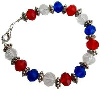 Love USA 4th Of July Celebrate Patriotic Day Red White Blue Bracelet