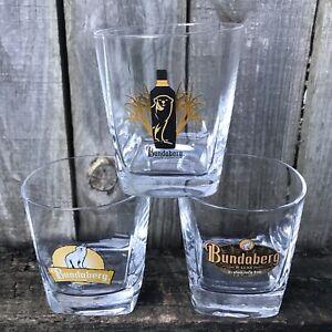 BUNDABERG RUM x 3 Square Base Vintage Glasses Tumblers Spirit Bundy Mancave