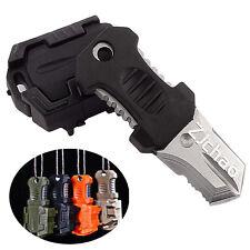 Multifunction EDC Mini Pocket Survival Tool  Webbing Self Defense Knife Black