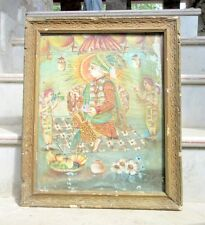 1850's Antique Old Rare Artist Hand Painted Hindu God With Saint Holy Painting