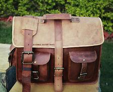 Men's Genuine Vintage Leather Messenger Laptop Briefcase Satchel Man Bag Brown