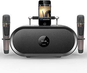 RHM Karaoke PA Speaker System with 2 Wireless Microphones Bluetooth / AUX/USB/SD