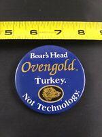 Vintage BOAR'S HEAD Oven Gold Turkey pin button pinback *EE75