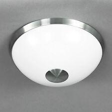 WOFI lámpara LED de techo Mile 1 Luz Níquel Ø 40cm Cristal Blanco 16 vatios 1150