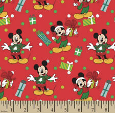 Mickey Mouse Christmas Fabric with Holiday Gifts Red Cotton Fabric by the yard