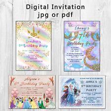 Digital party invitations • Princess • Mermaid • Unicorn • Personalised • jpg