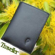 "LARIKIN ""Traveller"" GENUINE LEATHER Mens Passport Travel Wallet Black Gift Box"