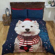 Rapport Westie Dog Christmas Xmas Winter Duvet Cover Bedding Set Multi