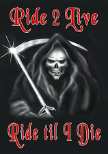 """Grim Reaper Decal Bumper Sticker Personalize Gifts 6x8"""" Skull Any Text- Color"""