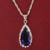 925 Silver Women Jewelry Tanzanite Pendant Necklace Engagement Drop Wedding Gift