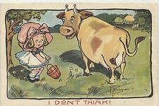 ARTIST SGND - WIEDERSEIM - GRACE DRAYTON - LITTLE GIRL & MILK COW - C-1910