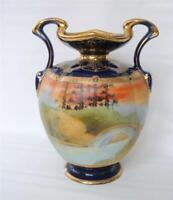 Antique Nippon Vase Hand Painted Scenic Beaded Jewels Cobalt Handles Morimura