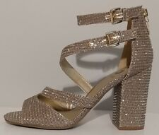 """NEW!! G By Guess Gold Sparkle Sandals 4"""" Block Heel Size 8.5M US 38.5M EUR"""