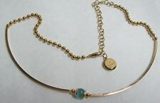 w/ Blue Glass Orb Rebecca Italy Golden Necklace
