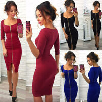 Women Square Neck 3/4 Sleeves Front Zip Up Bodycon Slim Asymmetric Solid Dress
