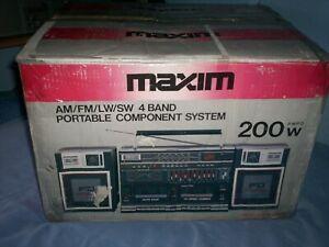 Maxim MX-939 Vintage Ghetto Blaster Portable Stereo twin Radio cassette player