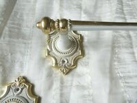 FRENCH FARMHOUSE HOLLYWOOD REGENCY ORMOLU GOLD GILT BRASS TOWEL BAR SET