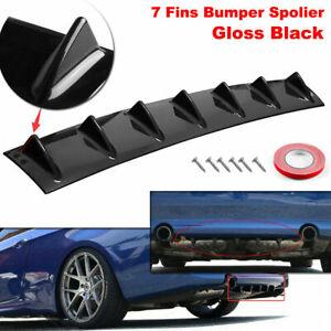 "33"" Universal Black 7 Shark Fins Car Rear Bumper Spoiler Wing Lip Diffuser Decor"