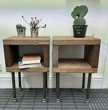 PAIR of Rustic Handmade Bedside Tables | Nightstands With Industrial Pipe legs