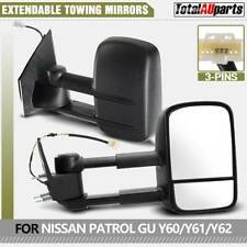 2x Black Extendable Towing Mirrors for NISSAN PATROL GU Y60/Y61/Y62 1997-2019