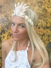 Cream Sea Shell Mermaid Crown Hair Head Band Choochie Choo Beach Hippy Boho