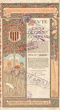 Devte de la Caixa de Credit Comvnal, obligacion, 1915