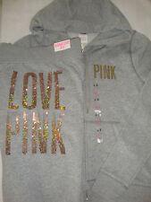 Victoria's Secret Love PINK Ombre Sequin Bling Grey Hoodie Jacket Pants Large L