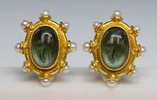 Elizabeth Locke 18K Venetian Glass Intaglio Pearl Earrings