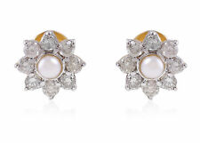 Pave 2.87 Cts Natural Diamonds Pearl Stud Earrings In Fine Hallmark 14Karat Gold
