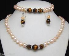 Pretty 7-8mm Pink Pearl & Tiger's Eye Stone Beads bracelet necklace earrings set