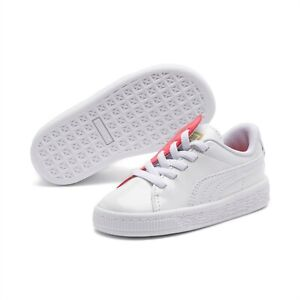 Puma Basket Crush Womens Trainers Low White Casual Lace Up Shoes 369556 01