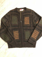 Vtg 60s Rockabilly Milwaukee Knits Original Wool Medium Hippie Cardigan SWEATER